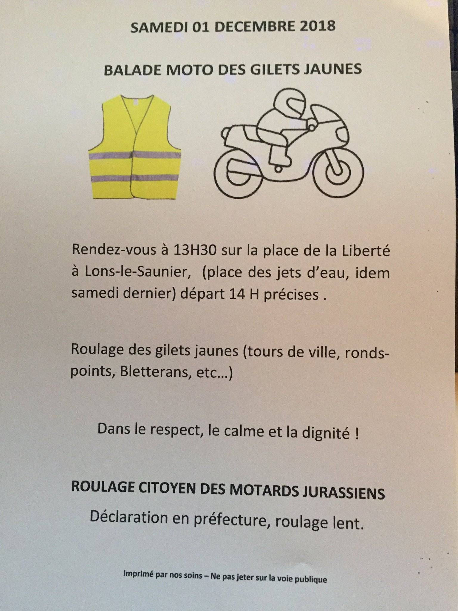 Balade moto des Gilets Jaunes